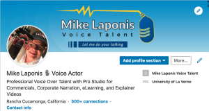 Screen shot of the Mike Laponis Voice Talent LinkedIn page